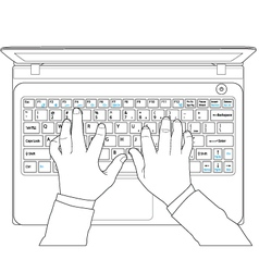 Hand typing vector