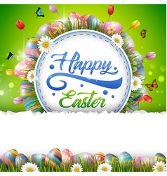 Happy easter with eggs and a background frame vector