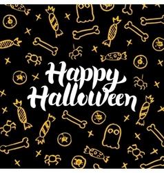 Happy Halloween Gold Black Postcard vector image