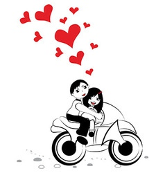 Happy man and woman in love on motorcycle vector