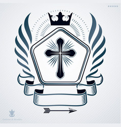 heraldic emblem made using graphic elements like vector image