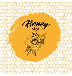Honey bee sketch logo design with honeycomb vector