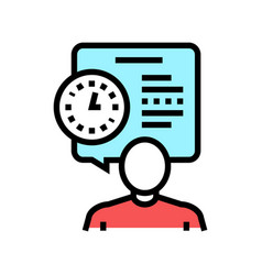 Human talk about task time scheduling color icon vector