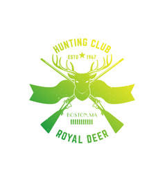 hunting logo with deer and hunting rifles vector image