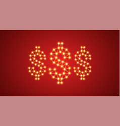inscription of 3 dollars with neon lamps vector image