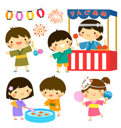 Kids at summer festival in japan vector