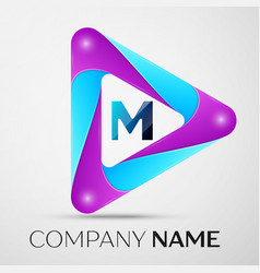 Letter m logo symbol in the colorful triangle on vector