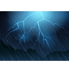 Lightning and rain blue background vector