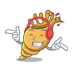 listening music exotic shell mascot cartoon vector image