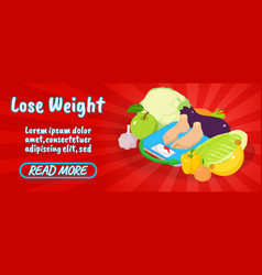 lose weight concept banner comics isometric style vector image