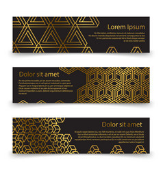 Luxury horizontal banners template with golden vector