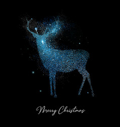 merry christmas blue glitter reindeer shape card vector image