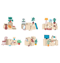 moving boxes stacks and piles cardboard vector image