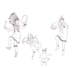 Native americans dancing indian family vector