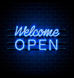 neon welcome open signboard on brick wall vector image