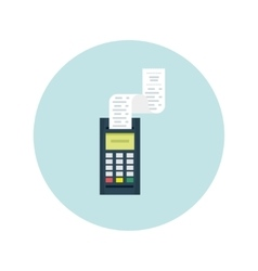 POS terminal with printed check Modern flat vector image