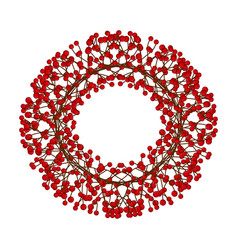 Red berry christmas wreath isolated on white vector