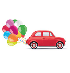 Red cartoon car with bunch of balloons isolated vector