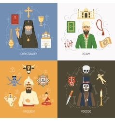 Religions Concept 4 Flat Icons Square vector