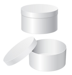 Round gift box white blank open and closed vector