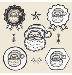Santa claus symbol emblem label collection vector image
