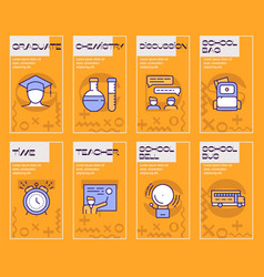 school color linear icons vector image