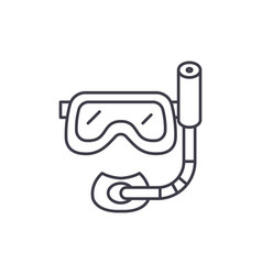 scuba diving mask line icon concept scuba diving vector image