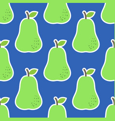 seamless pattern with pears in green on blue vector image