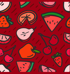 seamless pattern with red summer fruits background vector image