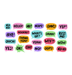 set comic speech bubbles chat communication vector image