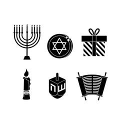 Set happy hanukkah decoration to traditional vector
