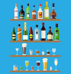 set of different drinks and bottles on the wall vector image