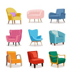 set of modern colorful soft armchair with vector image