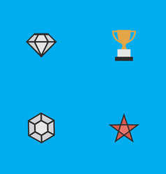 Set of simple champion icons elements first vector