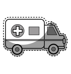 Silhouette ambulance emergency care life vector