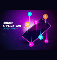 smartphone with mobile app development vector image