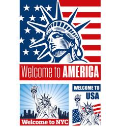 Statue of liberty usa flag nyc vector