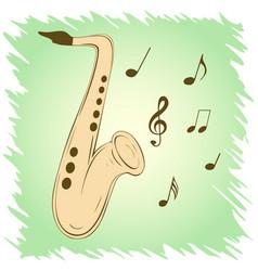 Stylish saxophone on green background vector