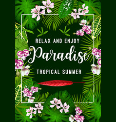 summer tropical palm leaf and flower poster vector image