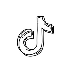 Tiktok icon doodle hand drawn or black outline vector