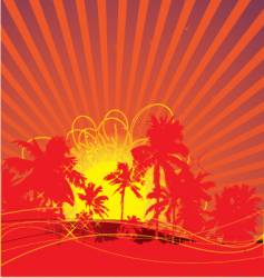 Tropical rising sun vector