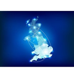 Uk country map polygonal with spot lights places vector