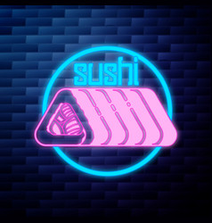 vintage sushi emblem glowing neon sign vector image