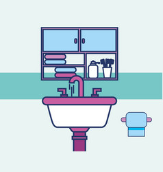 washbasin toilet paper and cabinet towels bathroom vector image