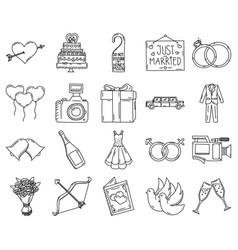 Wedding icon set doddle hand drawn or black vector