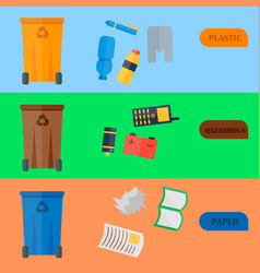 Weste recycling garbage cards waste types vector
