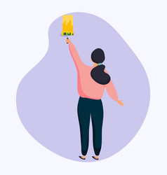 woman holding roller brush and painting flat vector image