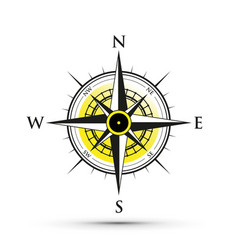 Yellow compass icon vector
