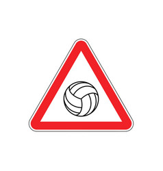 attention volleyball danger red road sign games vector image vector image