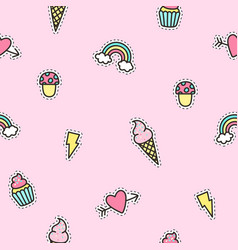 cute objects pattern with pink background vector image